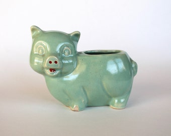 Vintage 1940s/1950s Mint Green Ceramic Pig Planter