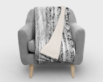 Birch Tree Nature SHERPA Fleece  - Photography Fleece Photo Blanket /SHERPA Fleece Throw/ Accent Throw/ Fleece Blanket / Made To Order