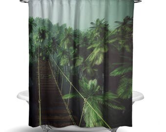 """Jungle Forest Green Shower Curtain / Bath Curtain/ Standard Size (71""""x74"""") FABRIC SHOWER CURTAIN - Made To Order"""