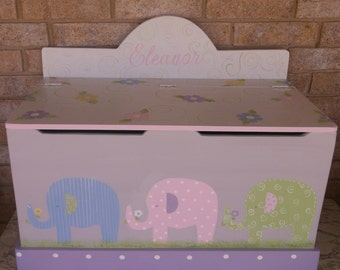 Pastel Nursery Elephants, Toy boxes for nuetral Gender. Toy Chest for Children. Kids Benches, Wooden Toy Boxes, Personalized