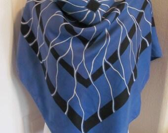 "Vintage Large Blue Silk Scarf  // 36"" Inch 92cm Square"