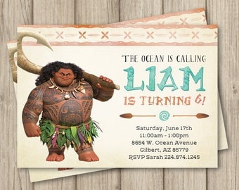 MOANA MAUI BIRTHDAY Invitation, Maui birthday Invitation, Moana birthday Invitation, Digital Invitation 5x7