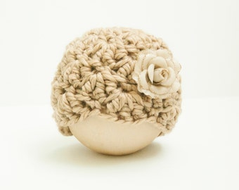 Newborn Girl Nude Beige Shell Beanie Rose Flower Hat RTS Ready to Ship Prop