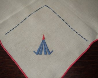 Art Deco Luncheon Tablecloth Tea Cloth Small tablecloth Embroidered Drawn Thread