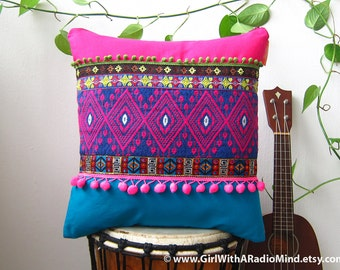 Mexican Pillow Aztec Fuchsia Pink Turquoise -  Bohemian Cushion Cover Home Deco