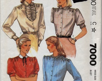Misses' Blouses in Four Different Styles Sewing Pattern - McCall's 7000 - Size 16 - UNCUT