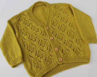 Hand Knit Girl Cardigan. Green Lace Cardigan for Girl. Seamless Girl Cardigan. Merino Wool Cardigan.