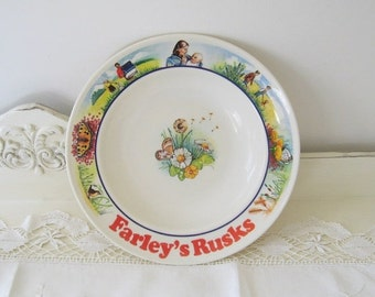 ON SALE Vintage Farley's Rusks Child's Breakfast Bowl Plate Dish Swifts Exmouth England Collectible Advertising