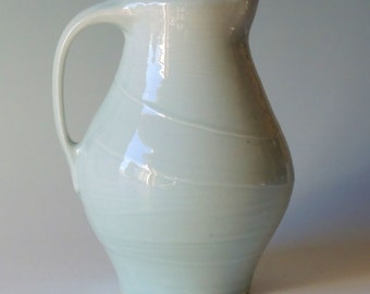 Handmade Pottery Pitcher.  Ceramic Pitcher. Handthrown Pottery. Celadon Pitcher.