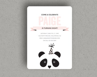 CUSTOM PANDA INVITATION for birthday party that is a printable, digital download invite file.