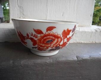 Vintage Japanese Porcelain Ware. Decorated in Hong Kong hand painted fine porcelain bowl with  Orange & Blue floral pattern