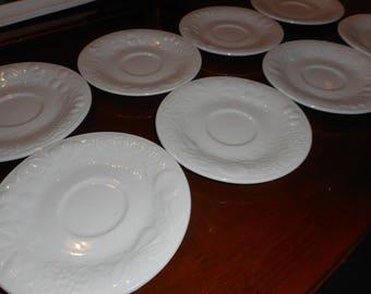 Vintage set of 8 Porcelain Gibson Saucers. Embossed Raised Fruit Pattern