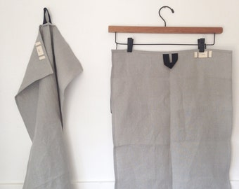 linen tea towels - grey with blue tab - pair