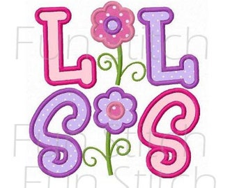 Lil sis little sister applique machine embroidery design instant download