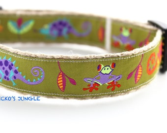 Geckos & Frogs Dog Collar, Tropical Dog Collar, Dog Collar, Jungle Dog Collar, Summer Dog Collar, Colorful Dog Collar, Collar Set