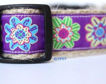 Purple Floral Dog Collar, Adjustable Dog Collar, Summer Dog Collar, Collar, Cotton Dog Collar, Collar & Leash Set