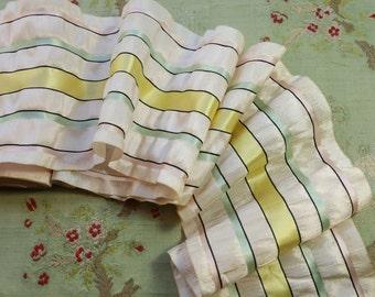 "1 yard Vintage plisse  gorgeous rayon ribbon 5.75"" wide cream white ribbonwork mint trim green pink trim flapper 1920 edwardian millinery"