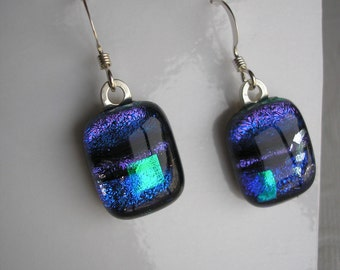 Dichroic Earrings Blues, Greens, and Violet Fused Glass .925 Sterling Silver Earwires Dangles Home Crafted Jewelry Iridescent Sparkle Dichro