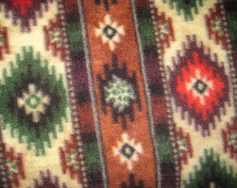 Handmade Fleece Blanket -An American Indian Blanket Pattern with Green - This Blanket is Ready to Ship Now
