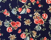 Navy Blue Red and Aqua Floral Single Brushed Poly Spandex Knit, 1 yard
