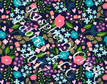 Navy Coral Mustard and Purple Ditsy Floral 4 Way Stretch Jersey Knit Fabric, By Ella Randall for Club Fabrics, PRE-ORDER