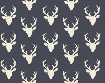 Tiny Navy Blue and Cream Deer Head Antler Jersey Knit Fabric, Hello Bear by Bonnie Christine for Art Gallery Fabrics, 1 yard Jersey KNIT