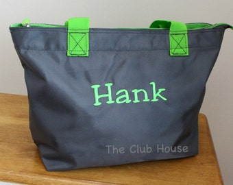 "Grey Tote Bag Zipper Closure, Personalized Daycare Bag 11.5""h x 12.5""w x 5.38""d, Monogrammed Diaper Bag"