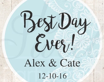Wedding Favor Stickers, Bridal Shower Favor Labels, Personalized Stickers, Bachelorette Party Favors, Best Day Ever - Blue - Set of 24