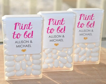 Bridal Shower Favors, Tic Tac Labels Mint To Be, Wedding Favors, Bachelorette Party, Personalized Engagement Favors - Set of 24 Labels