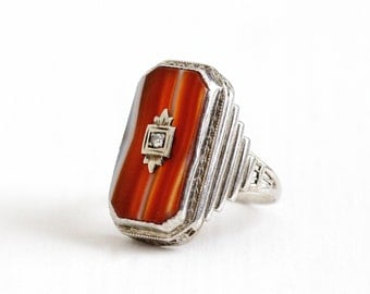 Sale - Vintage Art Deco 14k White Gold Banded Agate & Diamond Ring - Antique Size 4 3/4 Filigree 1920s Red White Striped Gem Fine Jewelry