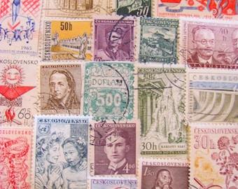 Czech It Out 50 Vintage Czechoslovakian Postage Stamps Czech Republic Ceskoslovensko Prague Czechoslovakia Steampunk Art Nouveau Philately