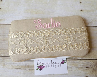 Elegant Shimmery Lace on Taupe Linen Travel Baby Wipe Case, Baby Shower Gift, Wipe Holder, Wipe Clutch, Diaper Wipe Case, Personalized Case