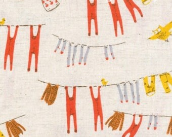 Heather Ross Fabric/Far Far Away 3 Fabric/Hanging clothesline/Cotton Linen Fabric