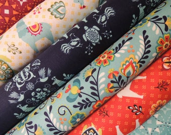 Juxtaposey Fabric Bundle, Designer Fabric by Riley Blake, Half Yard Bundle, 3 yard total, 1/2 Yard of 6 Fabrics