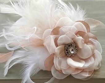 Blush Mauve and White Hair Flower, Bridal Blush and white flower, blush and white feathers,bridesmaid hair flower, flower girl blush flower