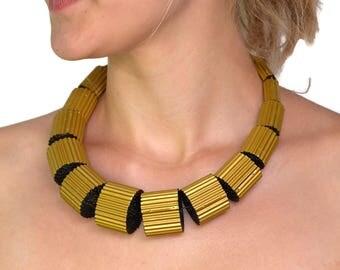 Golden and Black: Necklace LUNA made of Corrugated Cardboard
