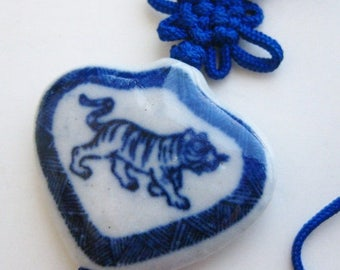 SPRING SALE Vintage Fine Old Chinese Blue & White Porcelain Tiger Bead Tassel Pendant Necklace