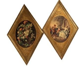2 Florentine Diamond G.B. Florence Wood Frames w 17th Century Art Flemish Floral Painting and Lancret's The Kite