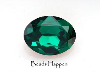 20x15mm Oval Swarovski Emerald Crystal Jewel Stone, Emerald Green Oval, Quantity 1