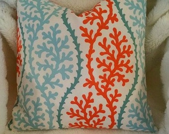 COASTAL COLLECTION- 8 Sizes- Aqua Coral Coral Indoor Outdoor Pillow Cover-Throw Pillow-Euro Sham