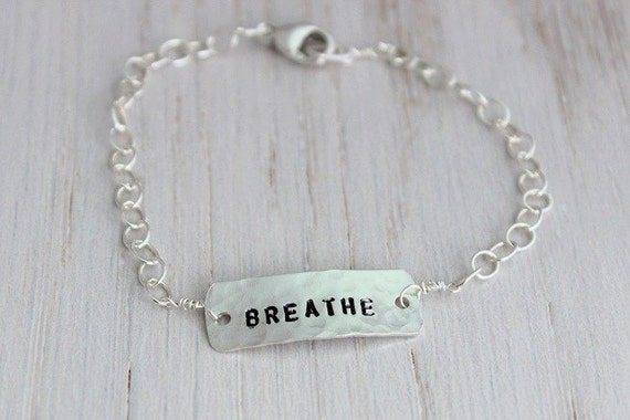 breathe inspirational stamped sterling silver gift for her, custom stamped word bracelet, personalized motivational gift, yoga inspired