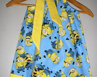 Dress Minions blue yellow pillowcase dress (available in sizes  3,6,9,12,18, months 2t,3t,4t,5t,,6,7,8,9,10,12,14