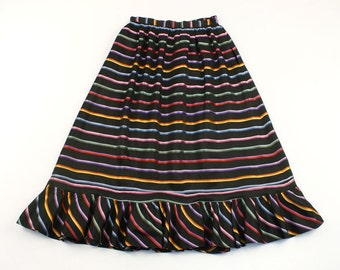 vintage 1940s silk skirt • rainbow striped full skirt with ruffle hem