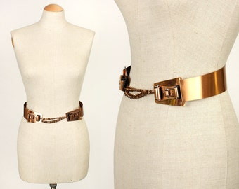 vintage 1950s RAMÉ copper belt • curved double scrolls • hammered copper with chain
