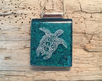 dichroic glass jewelry,sea turtle pendant,glass,fused glass,Dichroic Glass Pendant,Fused Glass Jewelry,Fused Dichroic Necklace,glass jewelry