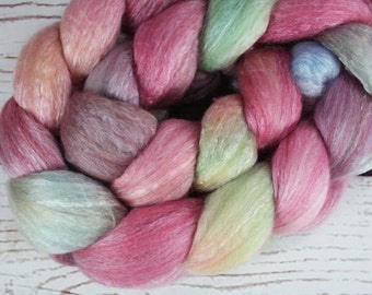 BOX of CHOCOLATES: Polwarth Seacell roving - 4.0 oz - Hand dyed wool roving - Valentine's Day wool roving - Pink spinning wool roving