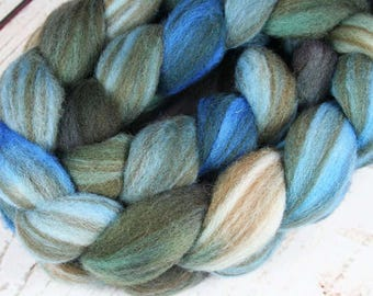 EVENING at Nanoose Bay: Striped Shetland roving - 4.0 oz - Hand dyed wool - Indie dyed wool - Hand dyed roving - Blue wool - Canada