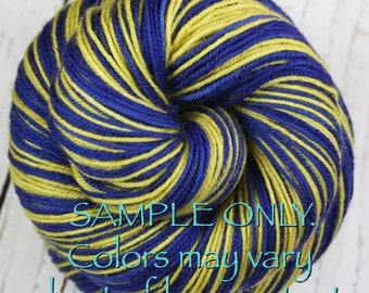 """Dyed to Order: Self-striping Sock Yarn - """"BLUE-GOLD"""" - Sports inspired - Hand dyed - Sports Team / School colors yarn - Indiana South Bend"""
