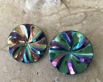 Rare Vintage Oversized Carnival Glass PInwheel Clip On Earrings SALE