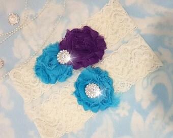 Purple and Blue Wedding Garter Set - Bridal Garter - Ivory Lace Garter - crystal garter set - Turquoise Wedding Garter - purple and blue